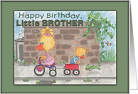 Happy Birthday for Little Brother from sister -Boy and Girl Ducks card