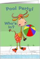 Pool Party Invitation-Cow and Beach ball card