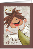 Happy Birthday for Niece-Primitive Curly Haired Angel card