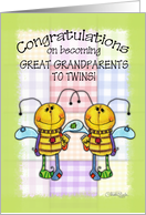 Congratulations on becoming Great Grandparents to Twins-Primitive Bees card