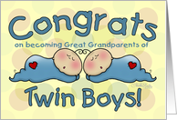 Congratulations on becoming Great Grandparents to Twin Boys-Two Sleeping Babies card