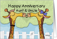 Happy Anniversary to Aunt and Uncle- Kissing Giraffes card