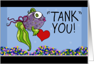 Thank You-Fish with Heart in Fish Tank-Tank You card