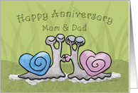 Happy Anniversary for Mom and Dad -Kissing Snails with Heart Shaped Shells card