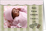 Customizable Photo Birth Announcement for Baby Girl-Hearts, Bear card