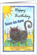 Cool Beach Cat- Birthday Son-in-law card