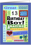 Happy Birthday for 13 year old boy-Good Word Subway Art card