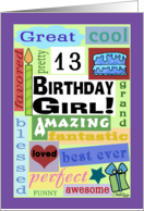 Happy Birthday for 13 year old girl-Good Word Subway Art card