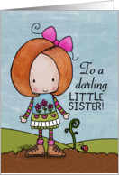 Happy Birthday for Little Sister- Red Head and Sprout card