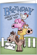 Birthday for Brother-Farm Animal Pile Up card
