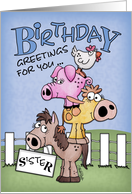 Birthday for Sister-Farm Animal Pile Up card