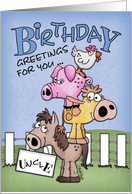 Birthday for Uncle-Farm Animal Pile Up card