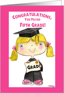 Little 5th Grade Graduate Girl-Blond Hair, Blue Eyes card