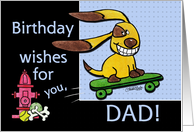 Birthday for Dad Skateboarding Dog-yEARS Fly By card