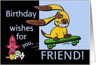 Birthday for Friend Skateboarding Dog-yEARS Fly By card