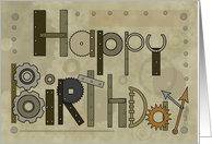 Steampunk Happy Birthday - Mechanical Parts Gears card