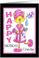 Happy Birthday for Grandma- Pampered Kitty card