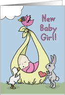 Baby Girl Birth Annoucement-Baby Bundle with Animals card