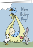Baby Boy Birth Annoucement-Baby Bundle with Animals card