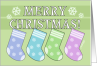 Merry Christmas to Grand Kids -Four Colorful Stockings Hang on letters card
