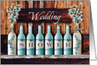 Painted Wine Bottle and Floral Wedding Shower Invitation card