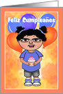 Girl with Cupcake Spanish Happy Birthday card