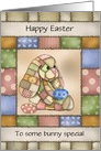 Custom Front Patchwork Bunny with Egg Easter card