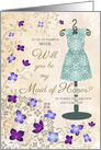 Lilacs and Lace Dress Maid of Honor Invitation for Sister card