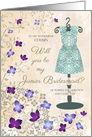 Cousin Lilacs and Lace Dress Junior Bridesmaid Invitation card