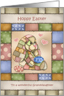 Patchwork Bunny Granddaughter Hoppy Easter card