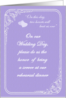 Two Hearts Rehearsal Dinner Server Wedding Attendant Invitaion card