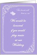 Two Hearts Play Music At Our Wedding Invitation card
