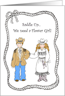 Cowboy and Cowgirl Flower Girl Western Themed Wedding Attendant Invitation Card