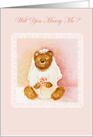 Will You Marry Me? Teddy Bear Dreams Wedding Proposal / Valentine card