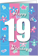Nineteen Year Old Birthday Flowers Hearts Stars Design Card