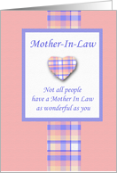 Mother In Law Valentine Plaid with Heart card