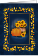 Fall Theme Sunflower Pumpkin Leaves Blank Note card