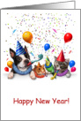 Animal Friends Celebrating New Year card