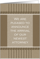 Business New Lawyer Announcement Card