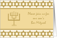 Son Bar Mitzvah Invitation card