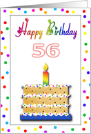 56 Years Old Chocolate Chip Cookie Cake Birthday card
