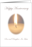 Son & Daughter In Law Lit Candle Happy Anniversay Card