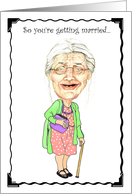 Getting Married Congratulations Humor Card Granny Bobblehead Humor Birthday Card
