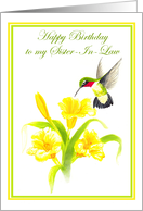For Sister In Law Hummingbird Birthday Card