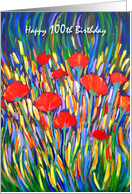 100 Years Old Happy Birthday Poppies card