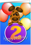 Puppy 2 Year Old Birthday card