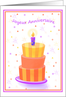 French Birthday Stacked Cake Lit Candle card