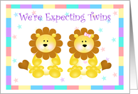 Little Lion's Starry Sky Expecting Twin Boy and Girl card