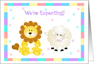 Lion and Lamb We're Expecting Announcement Card