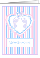 Expecting A Baby Announcements Footprints card
